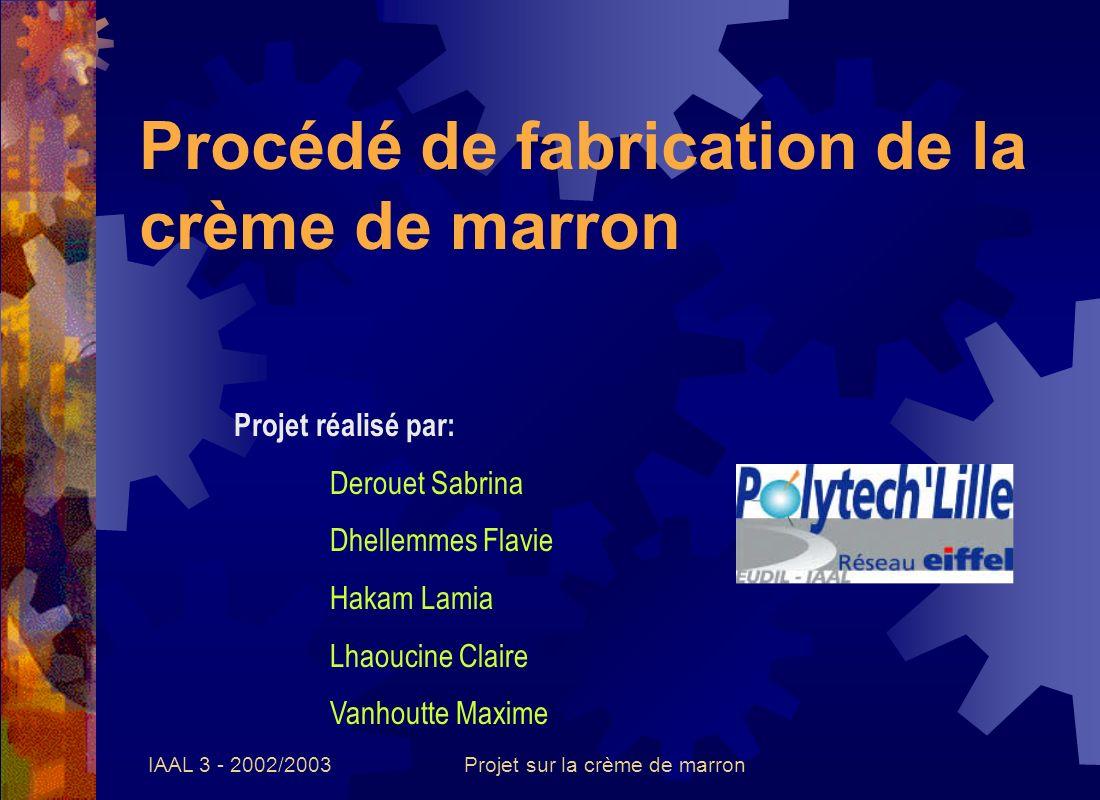 IAAL 3 - 2002/2003Projet sur la crème de marron Les différents procédés de fabrication Procédé industriel biologique et non- biologique.