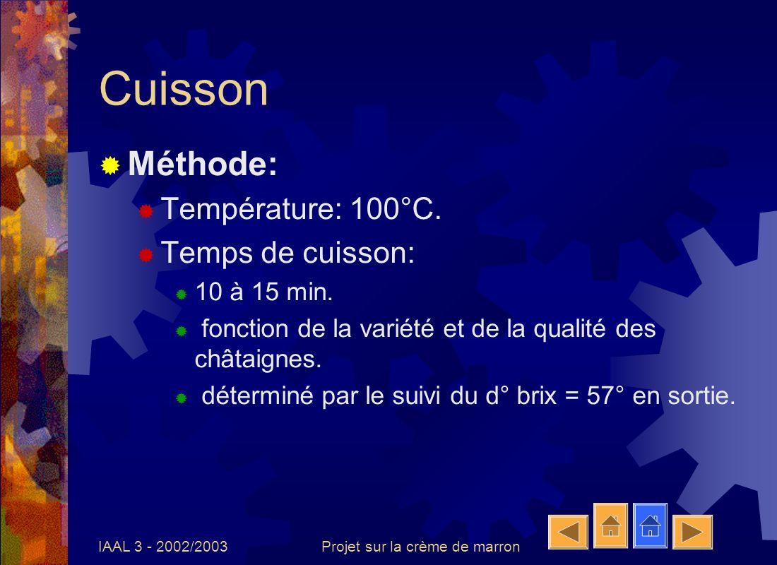 IAAL 3 - 2002/2003Projet sur la crème de marron Pasteurisation Méthode: 100°C durant 10 à 20 min en fonction de la quantité.