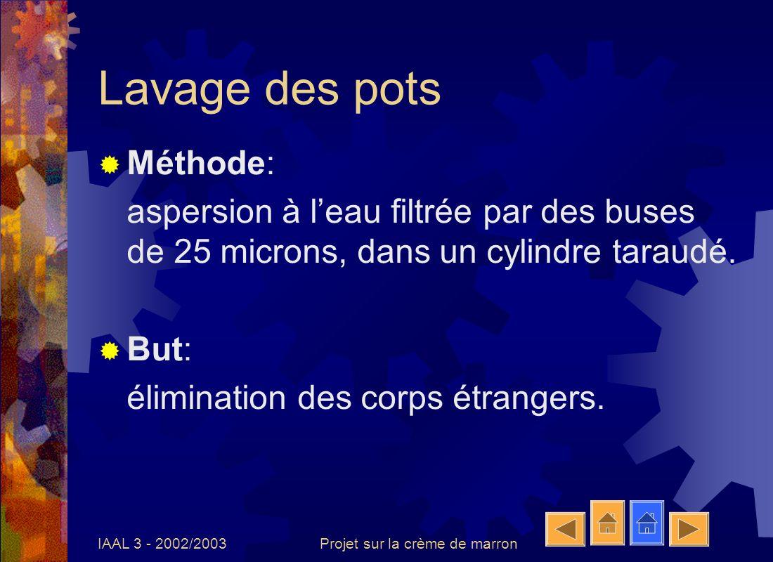 IAAL 3 - 2002/2003Projet sur la crème de marron Remplissage à chaud Méthode: remplissage automatique par des doseuses chauffantes: 90°C.