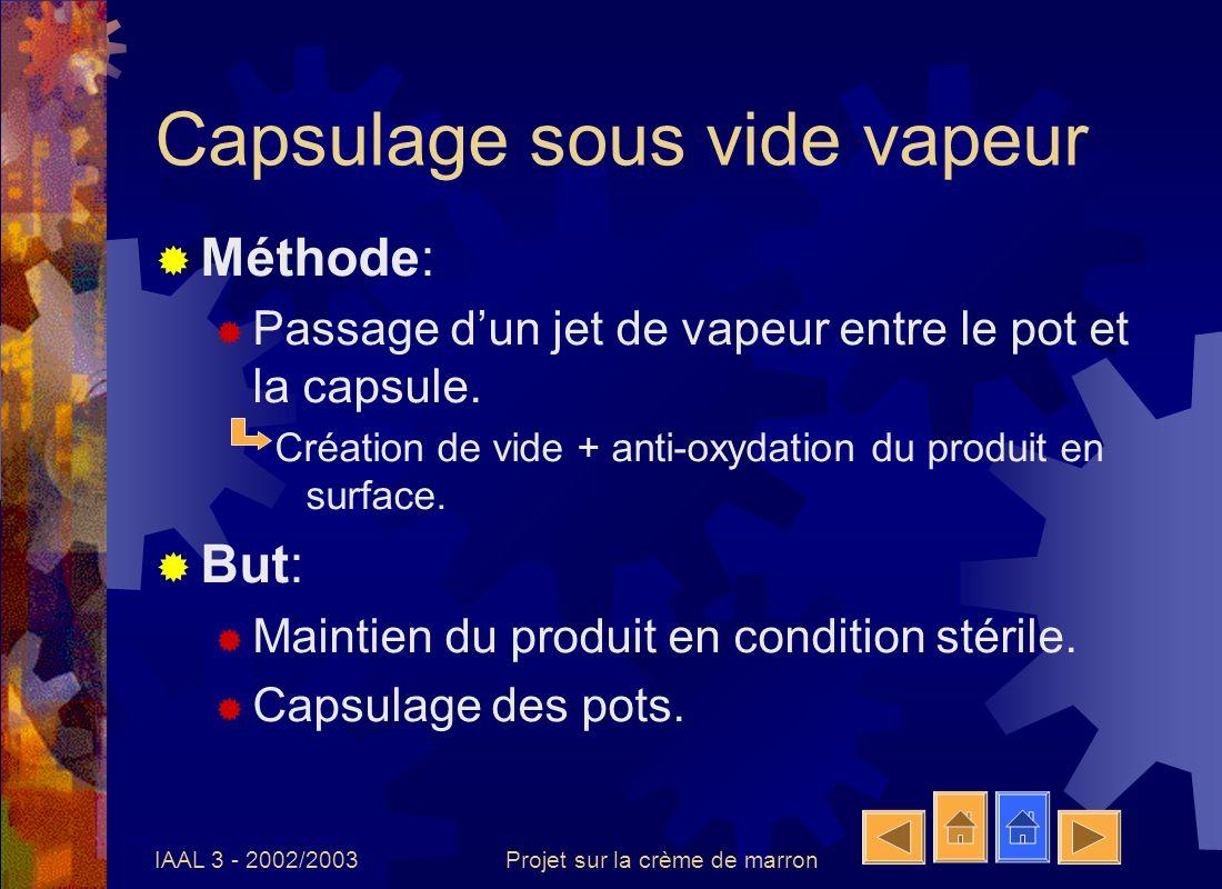 IAAL 3 - 2002/2003Projet sur la crème de marron Refroidissement - lavage Méthode: Lavage et refroidissement des pots à leau froide.