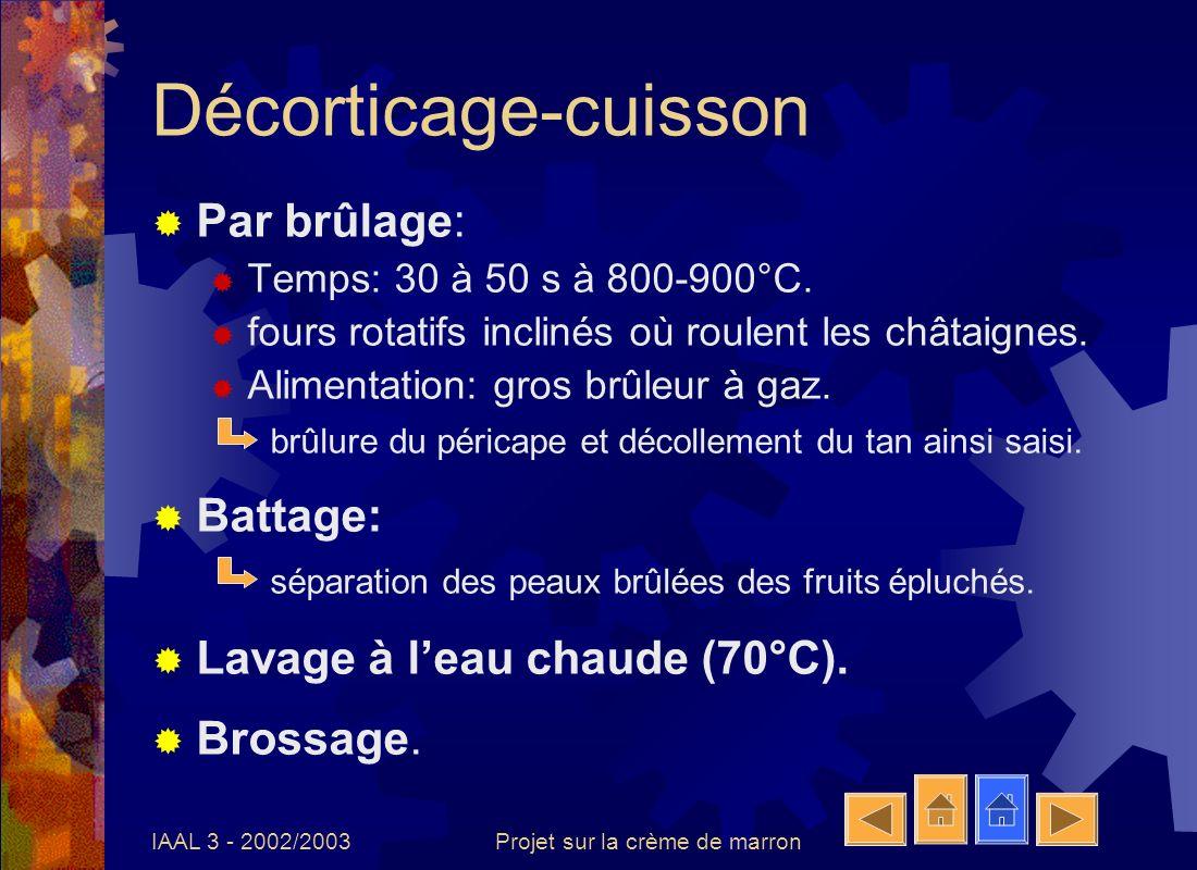 IAAL 3 - 2002/2003Projet sur la crème de marron Triage Méthode: Pré-tri visuel.