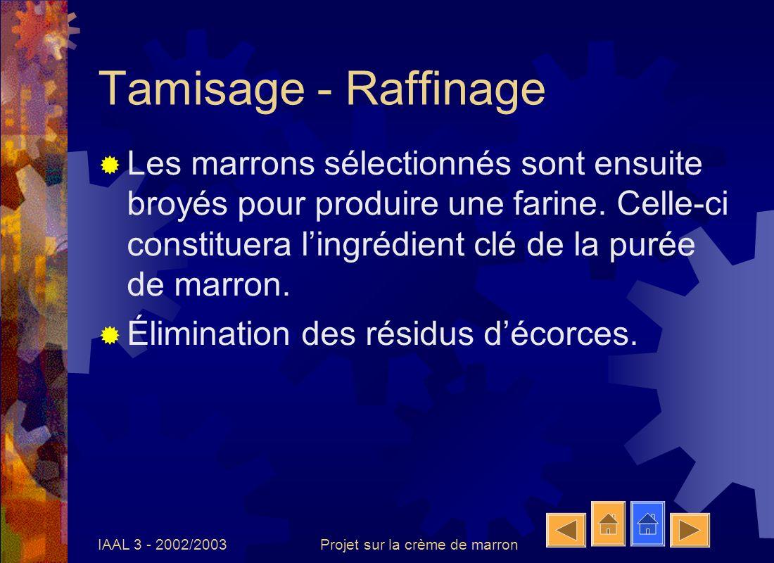 IAAL 3 - 2002/2003Projet sur la crème de marron Mélange Méthode: Température de mélange: 30°C Ajout des ingrédients suivants au sirop de sucre: Purée de marron, Divers parfums: Vanille bourbon Chocolat noisette,…