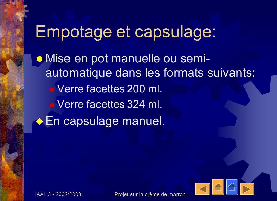 IAAL 3 - 2002/2003Projet sur la crème de marron Pasteurisation Méthode: 30 minutes à 90°C en autoclave.