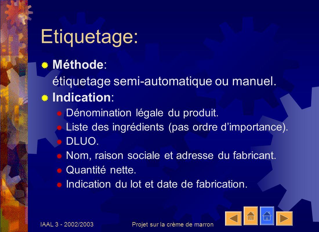 IAAL 3 - 2002/2003Projet sur la crème de marron Explications du document Ce document se compose de 2 diagrammes de fabrication dont chaque étape possède une fiche explicative.