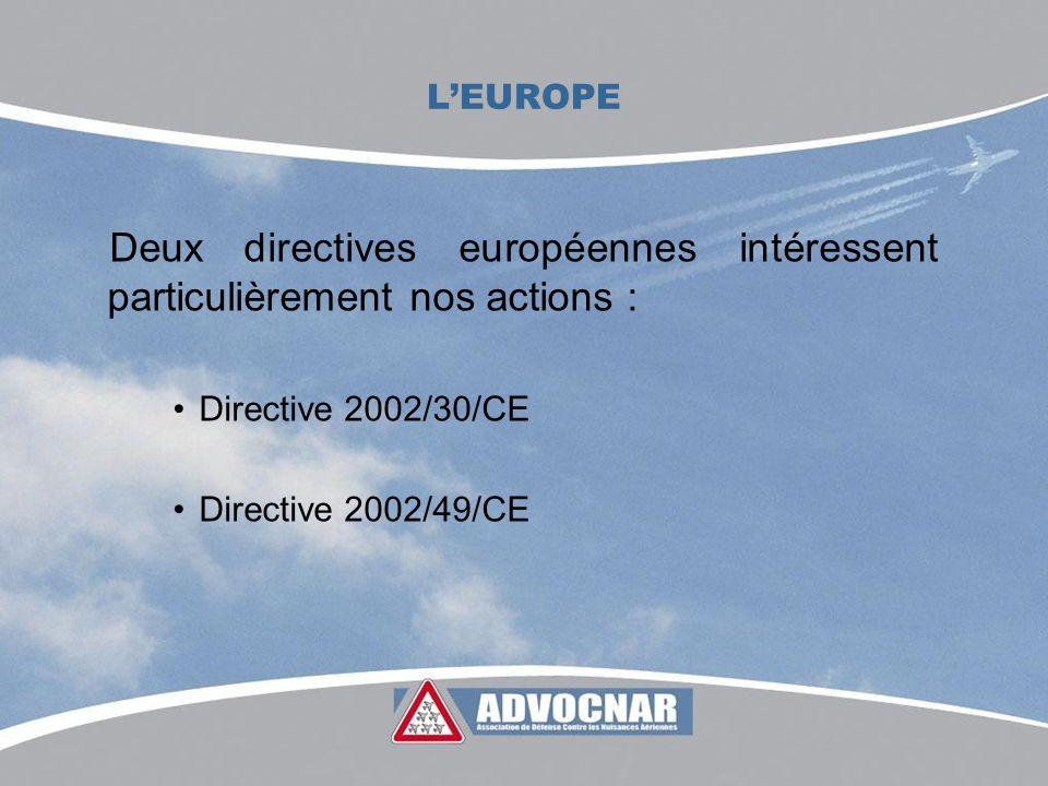 LEUROPE La directive 2002/30/CE Élimination des avions les plus bruyants Suppression des chapitres II depuis 2002 sur toutes les plates-formes européennes Révision de la directive : les associations demandent linterdiction des chapitres III