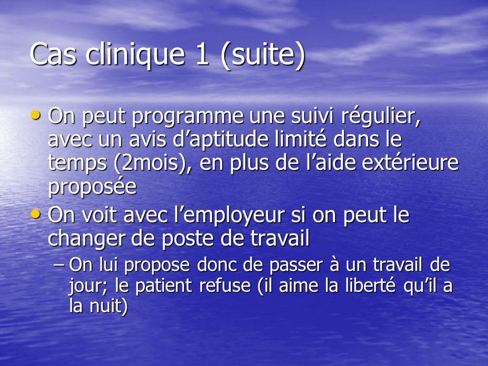 Cas clinique 1 (suite) Lemployeur dit être embarrassé car des clients se seraient plein de son état (agressivité, imprégnation…) ou de son travail.