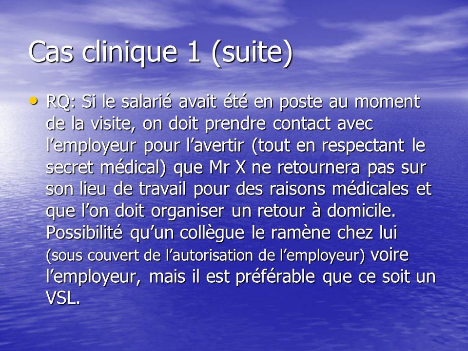 Cas clinique 1 (suite) RQ suite: RQ suite: Il est conseillé que la personne en fonction du degré dalcoolémie et de son état clinique, ne reste pas sans surveillance à domicile, auquel cas il faut ladresser aux urgences hospitalières