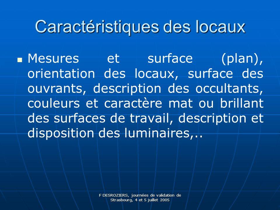 F DESROZIERS, journées de validation de Strasbourg, 4 et 5 juillet 2005 perception des couleurs => niveau lumineux compris entre 400 et 1000 Lux = bonne discrimination des couleurs.
