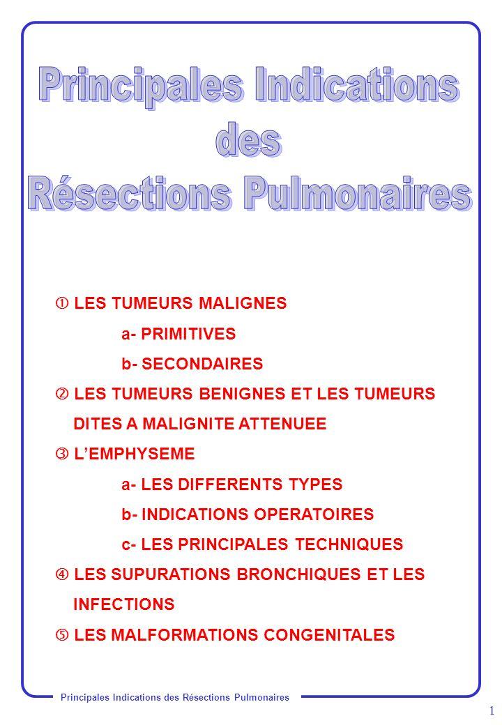 Principales Indications des Résections Pulmonaires 2 A- PRIMITIVES : les plus fréquentes Premier cancer de l homme.