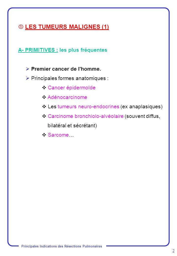 Principales Indications des Résections Pulmonaires 3 B- SECONDAIRES : les METASTASES Fréquentes dans l évolution d un cancer extra thoracique Sont chirurgicales : Formes nodulaires périphériques ou bronchiques Unies ou bilatérales Uniques ou multiples (< à 15 mm) Localisées au thorax, d évolution lente Cancer primitif contrôlé Exérèse économique +++ Possibilité de réintervention Ne sont pas chirurgicales : Formes diffuses : lymphangites carcinomateuses - miliaire carcinomateuse (voie lymphatique) - lâcher de ballons (voie hématogène).