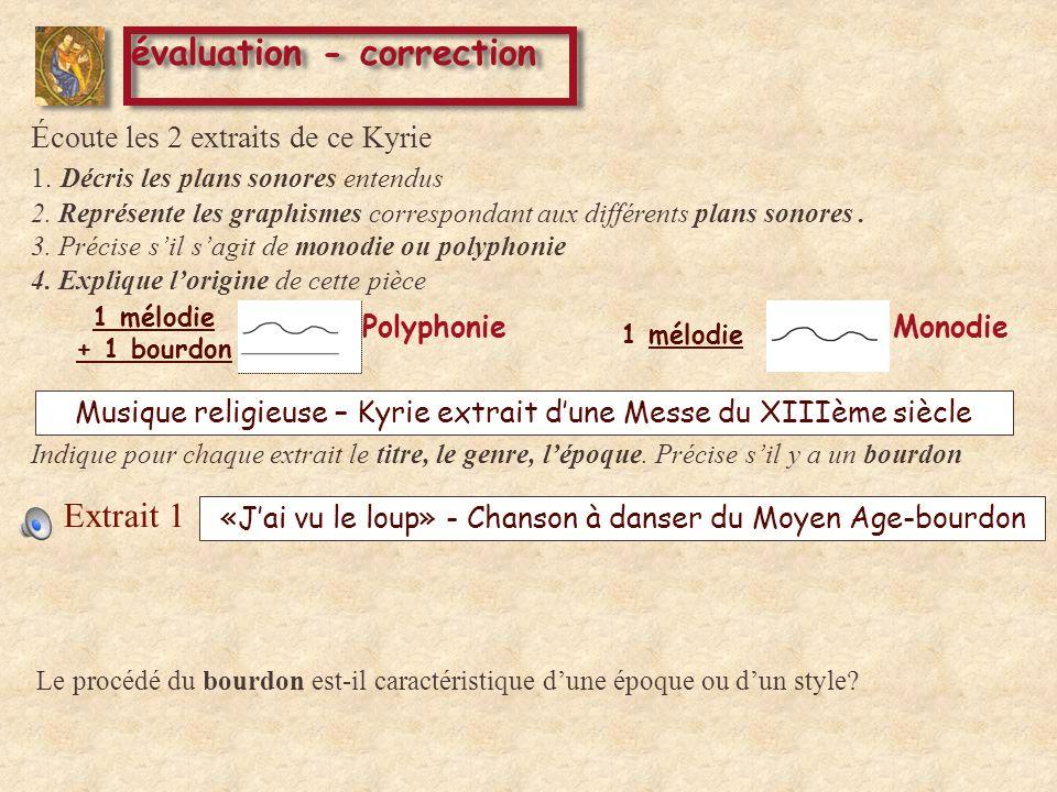 évaluation - correction Extrait 1 Extrait 2 Éc oute les 2 extraits de ce Kyrie 1.