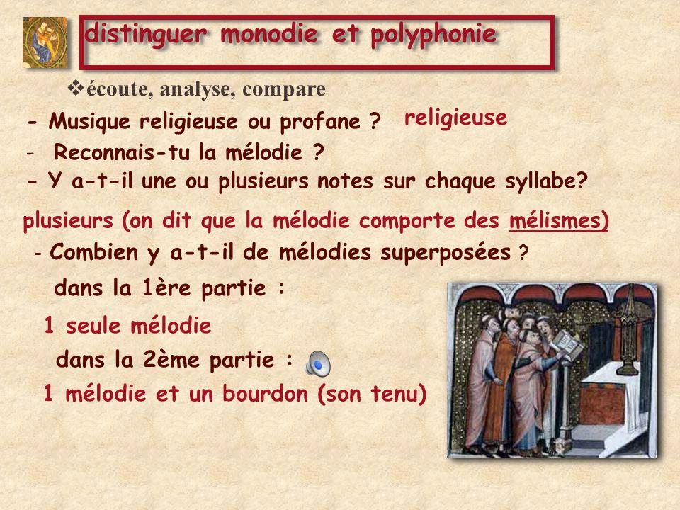 dans la 2ème partie : dans la 3ème partie : 1 mélodie et un bourdon (son tenu) deux mélodies superposées et un bourdon distinguer monodie et polyphonie - Combien y a-t-il de mélodies superposées .