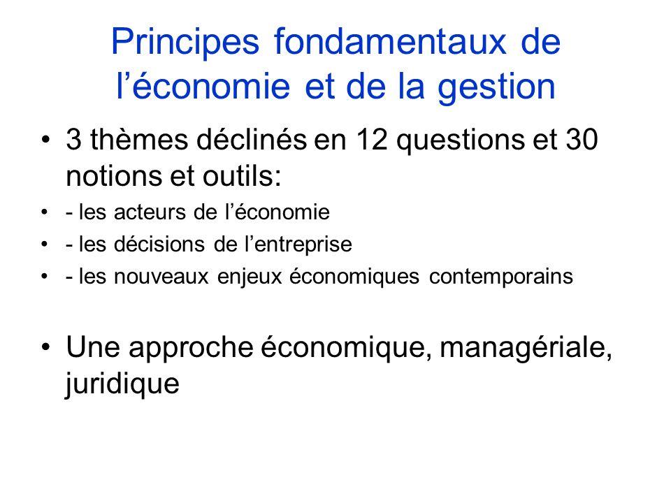 Sciences économiques et sociales 4 thèmes déclinés en 12 questions et 30 notions et outils : - ménages et consommation - entreprises et production - marchés et prix - choix individuels et choix sociaux une approche économique, sociologique et croisée