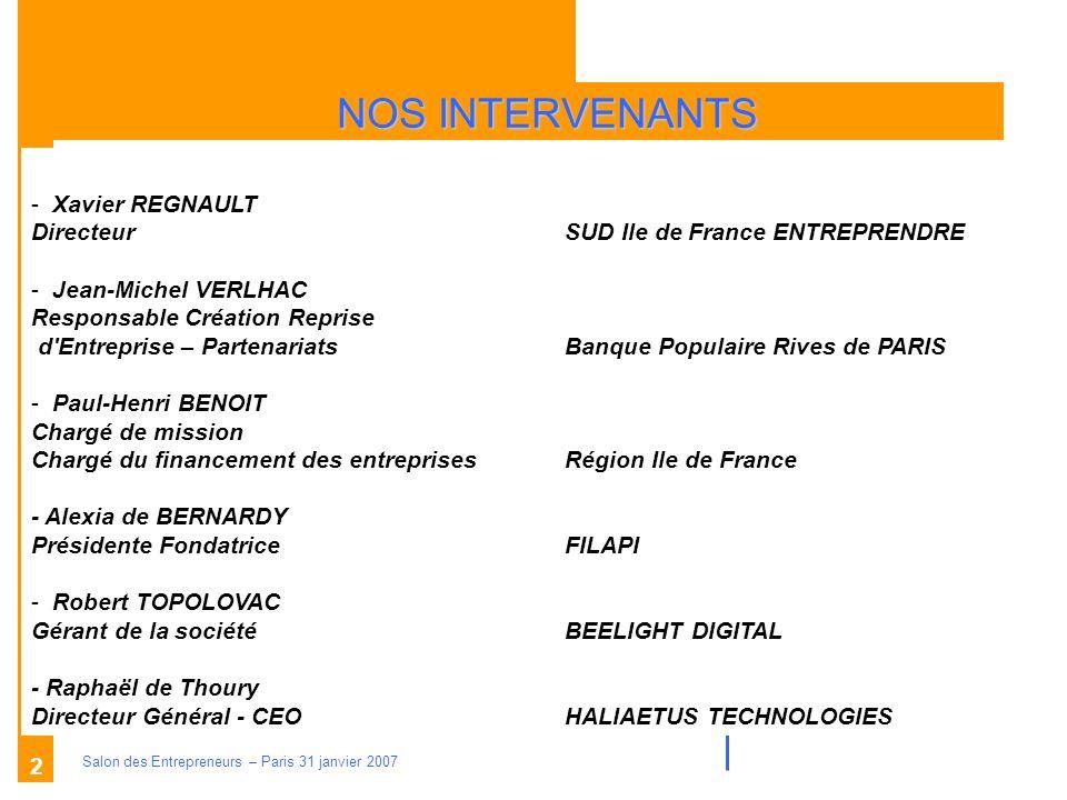 Description des aides Organismes compétents Salon des Entrepreneurs – Paris 31 janvier 2007 3 La création dentreprise Aides à caractère national I.LES PRINCIPALES AIDES SOCIALES II.LES PRINCIPALES AIDES FINANCIERES dont LES AIDES FINANCIERES ET DACCOMPAGNEMENT III.LES PRINCIPALES AIDES FISCALES IV.LES AIDES SPECIFIQUES V.QUELQUES SITES IMPORTANTS