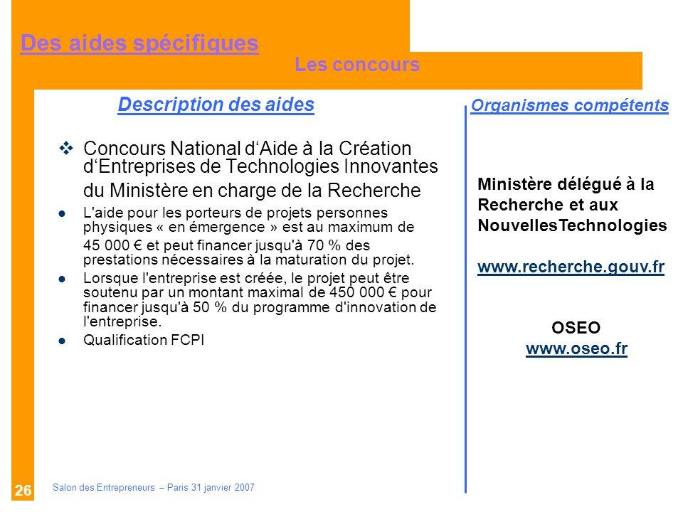 Description des aides Organismes compétents Salon des Entrepreneurs – Paris 31 janvier 2007 27 AGENCE POUR LA CREATION DENTREPRISE www.apce.com LE MINISTERE DES PME DU COMMERCE ET DE LARTISANAT www.pme-commerce-artisanat.gouv.fr OSEO www.oseo.frwww.oseo.fr SIAGIwww.siagi.comwww.siagi.com LADIE – Association pour le Droit à lInitiative Economique www.adie.org FRANCE INITIATIVE RESEAU www.fir.asso.fr RESEAU ENTREPRENDRE www.reseau-entreprendre.org LES BOUTIQUES DE GESTION www.boutiques-de-gestion.com Des sites Internet importants
