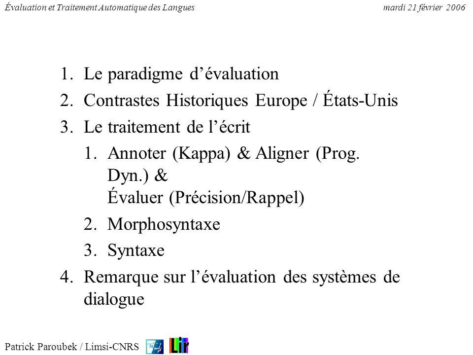 Patrick Paroubek / Limsi-CNRS Évaluation et Traitement Automatique des Languesmardi 21 février 2006 1.