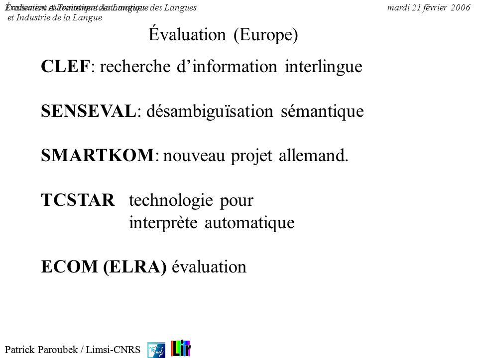Patrick Paroubek / Limsi-CNRS Évaluation et Traitement Automatique des Languesmardi 21 février 2006 FRANCIL Program Created : June 1994 Coordinator: J.
