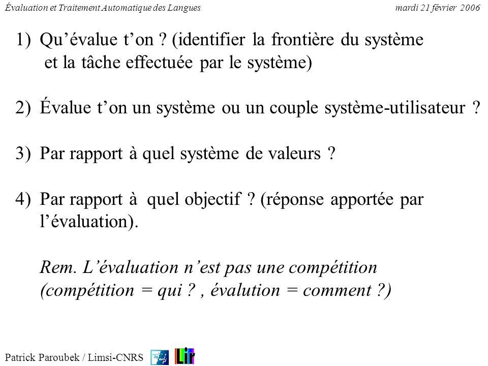 Patrick Paroubek / Limsi-CNRS Évaluation et Traitement Automatique des Languesmardi 21 février 2006 Lévaluation fait peur (sélection/compétition).