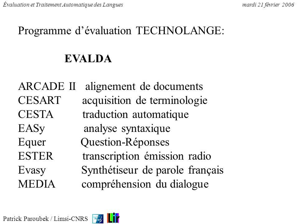 Patrick Paroubek / Limsi-CNRS Évaluation et Traitement Automatique des Languesmardi 21 février 2006 Le traitement de lécrit 1.Annoter (kappa et segmentation) 2.Aligner (Programmation Dynamique) 3.Évaluer (Précision/Rappel) 4.Morphosyntaxe (GRACE) 5.Syntaxe (EASY)