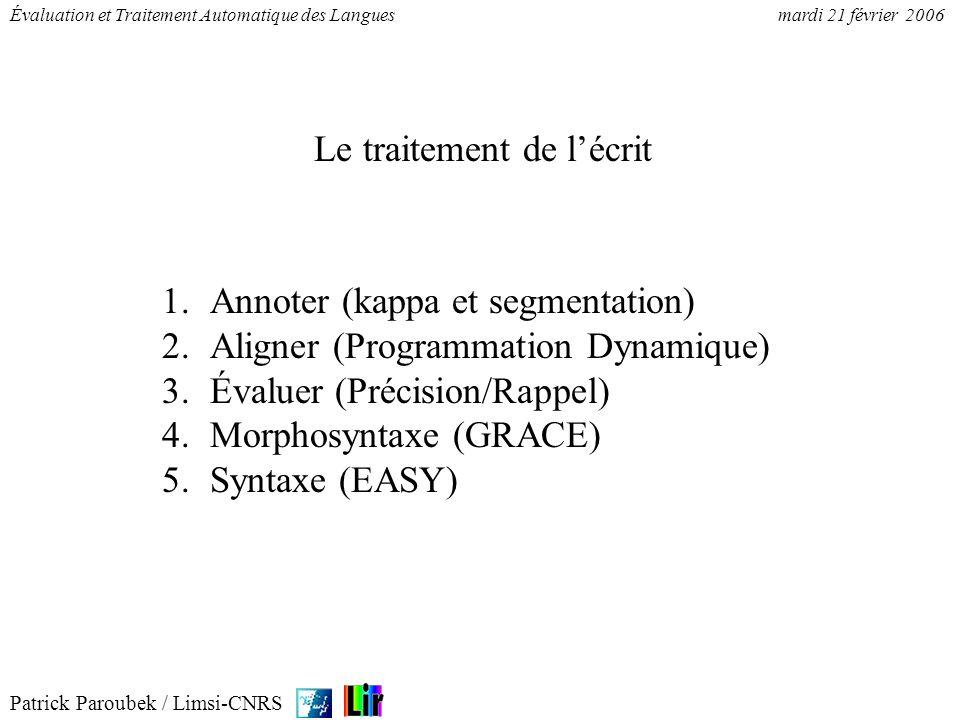 Patrick Paroubek / Limsi-CNRS Évaluation et Traitement Automatique des Languesmardi 21 février 2006 Le (coefficient) Kappa est une mesure permettant de quantifier la plus ou moins grande similarité entre deux systèmes dannotation (accord inter-annotateur).