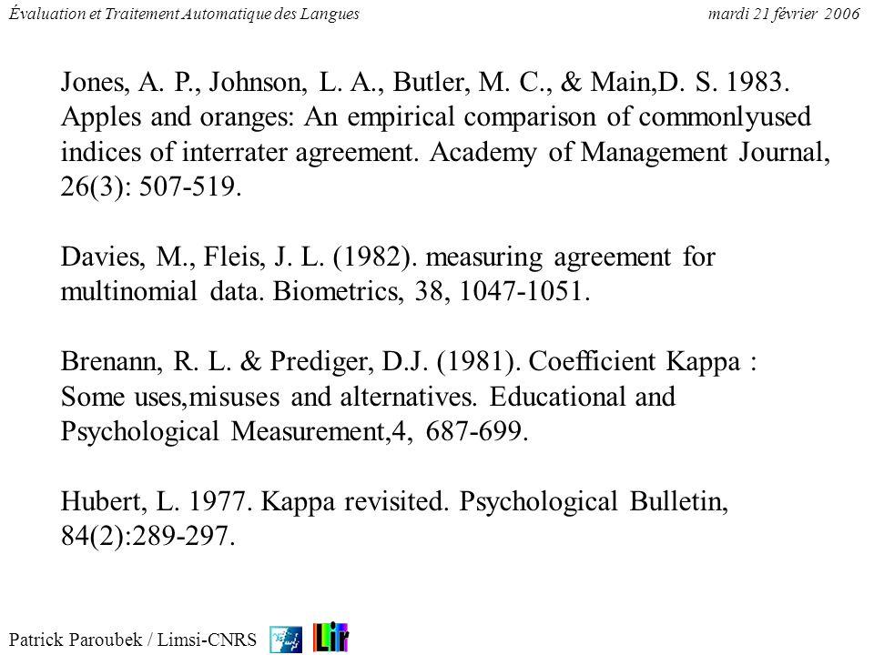 Patrick Paroubek / Limsi-CNRS Évaluation et Traitement Automatique des Languesmardi 21 février 2006 Landis J.R.; Koch G.G.