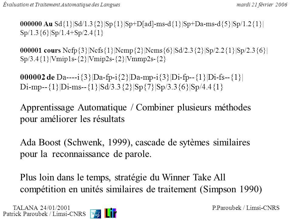 Patrick Paroubek / Limsi-CNRS Évaluation et Traitement Automatique des Languesmardi 21 février 2006 Combiner pour améliorer NIST, reconnaissance de la parole ROVER - Recognizer Output Voting Error Reduction (Fiscus 1997) Sytème composite, meilleur performance que le meilleur des systèmes.