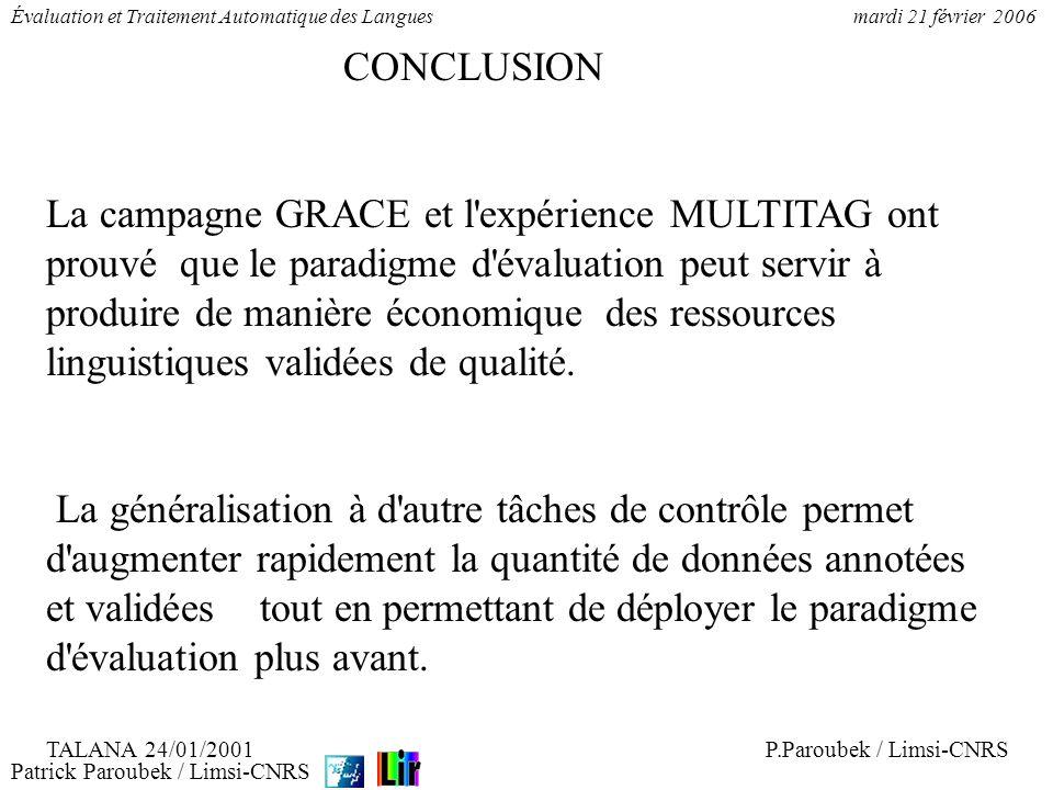 Patrick Paroubek / Limsi-CNRS Évaluation et Traitement Automatique des Languesmardi 21 février 2006 1.La campagne EASY 2.Annotations pour lanalyse syntaxique 3.Les données 4.Les résultats préliminiaires
