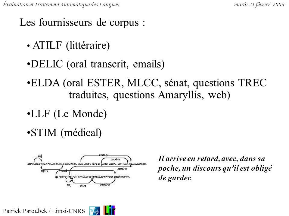 Patrick Paroubek / Limsi-CNRS Évaluation et Traitement Automatique des Languesmardi 21 février 2006 1.GN groupe nominal 2.GP groupe prépositionnel 3.NV noyau verbal 4.GA groupe adjectival 5.GR groupe adverbial Guide dannotation (A.