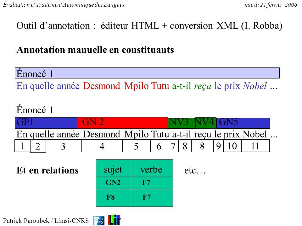 Patrick Paroubek / Limsi-CNRS Évaluation et Traitement Automatique des Languesmardi 21 février 2006 Énoncé 12 NV1GN2NV3GR4GA5 Jepensequemonsieuresttrèsinquiet.