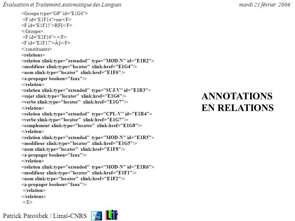 Patrick Paroubek / Limsi-CNRS Évaluation et Traitement Automatique des Languesmardi 21 février 2006 Mesures de précision et rappel : par participant, type de constituant, par type de corpus.