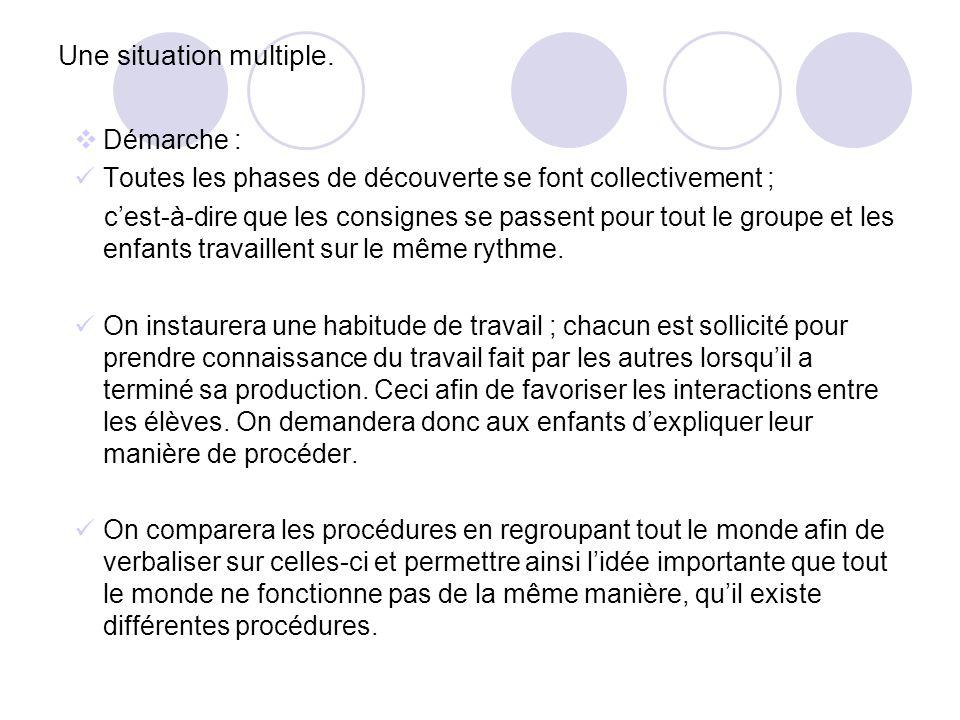 Une situation multiple Dans les phases de renforcement des procédures visitées auparavant, les élèves devront se fixer eux- mêmes des « contrats » et seront donc amenés à répéter à volonté les procédures.