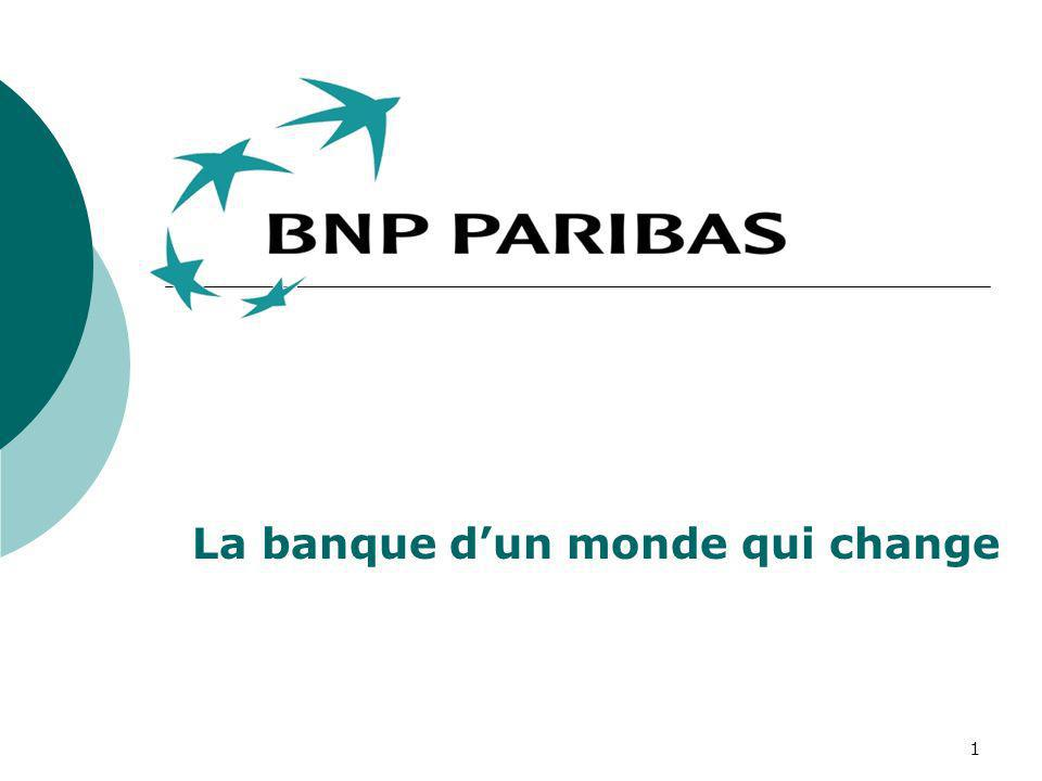 2 HISTORIQUE BNP 1966 : Création de la BNP avec la fusion de BNCI (Banque Nationale du Commerce et de lIndustrie) et du CNEP (Comptoir National dEscompte de Paris) 1993 : Privatisation de lentreprise PARIBAS 1872: Création de la Banque de Paris et des Pays Bas.