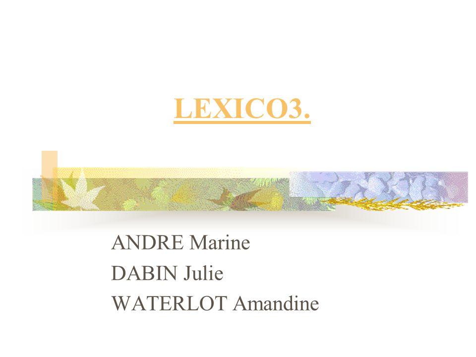 LEXICO3. ANDRE Marine DABIN Julie WATERLOT Amandine