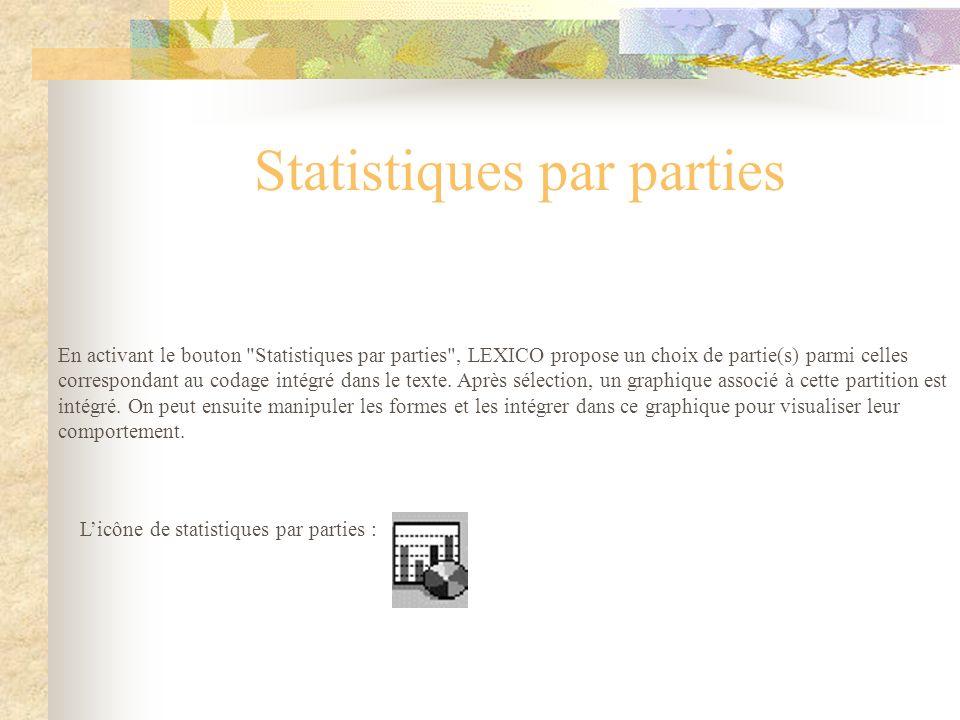 En activant le bouton Statistiques par parties , LEXICO propose un choix de partie(s) parmi celles correspondant au codage intégré dans le texte.