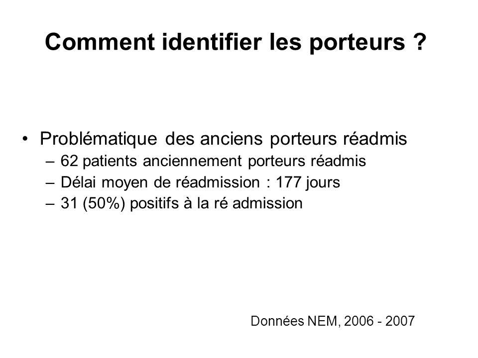 Comment identifier les porteurs ? Données NEM, 2006 - 2007