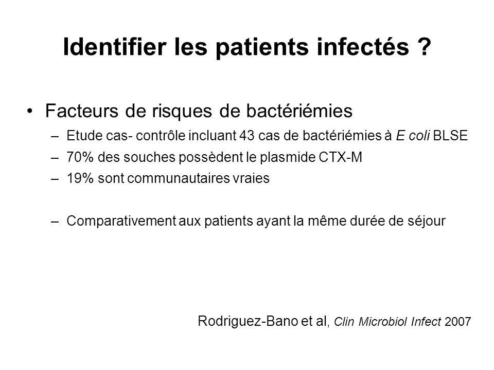 Identifier les patients infectés ? Rodriguez-Bano et al, Clin Microbiol Infect 2007