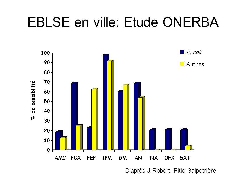 Résistances associées 285 souches dEntérobactéries sécrétrices de BLSE (E Coli, Klebsiella spp, Enterobacter spp, Salmonella, Citrpbacter spp ) CTX-M prédominantes (65.8% communautaire, 58.6% nosocomiales) Morosini et al, AAC 2006