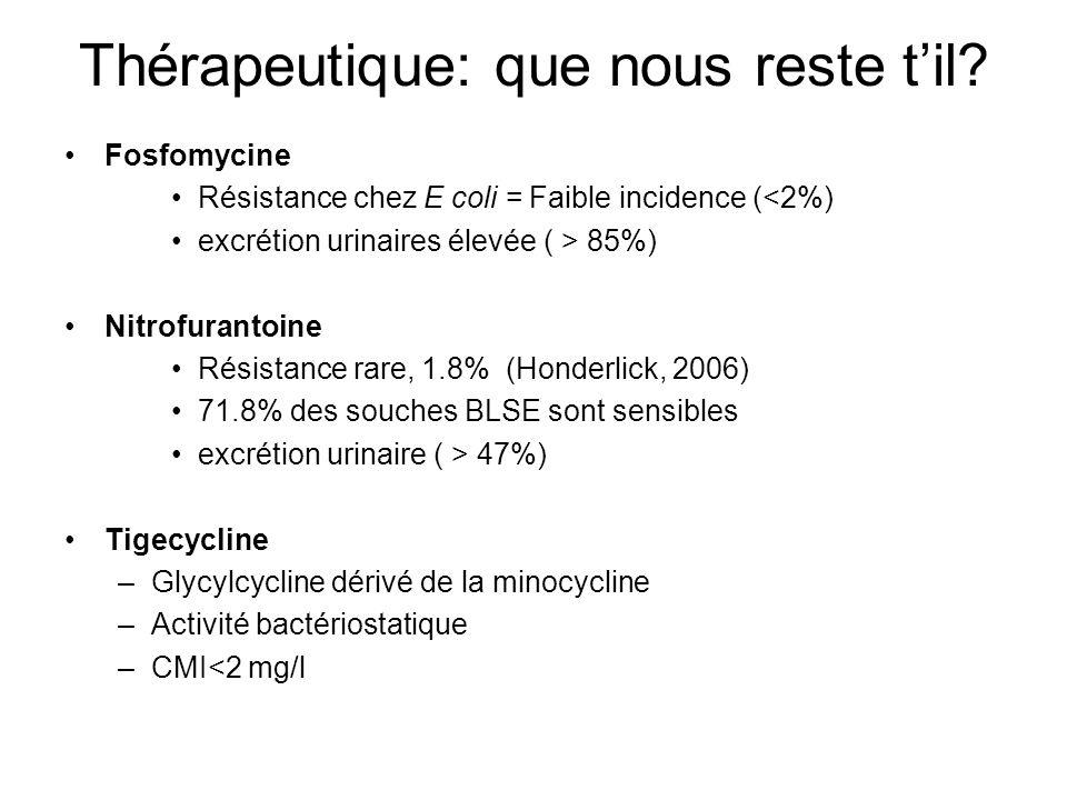 Conclusion 1 Diffusion des EBLSE en communautaire LEpidémiologie Françaises semble encore être de « type nosocomial » Lamplification du phénomène est prévisible »Antibiothérapie »Hygiène Hospitalière La diffusion des EBLSE est une problématique majeure des prochaines décennies
