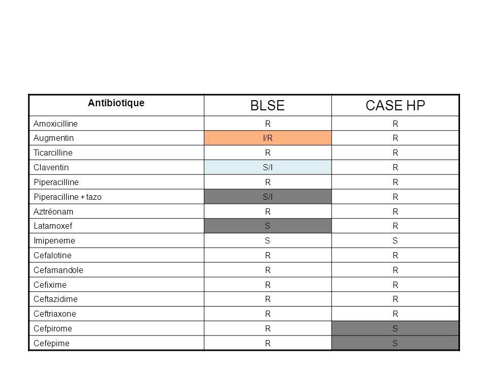 BLSE CASE hyperproduites Pénicillines, C 1 G, C 2 G, C 3 G RR Céphamycines (FOX) SR Mecillinam (MEC) RS/R Cefepime (FEP) Cefpirome (CPO) RS/R Sensibilité aux Inhibiteurs ouinon Principe du diagnostic bactériologique Dépistage par lantibiogramme