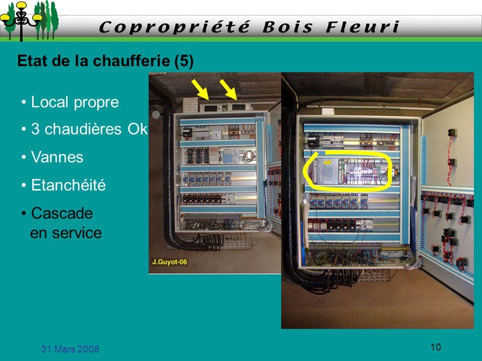 31 Mars 2008 11 Etat de la chaufferie (6) Local propre 3 chaudières Ok Vannes Etanchéité Cascade en service Eau chaude Tout nest pas parfait .