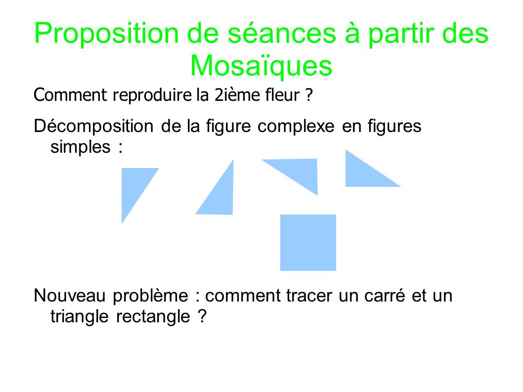 Proposition de séances à partir des Mosaïques C omment tracer un carré puis un triangle rectangle .