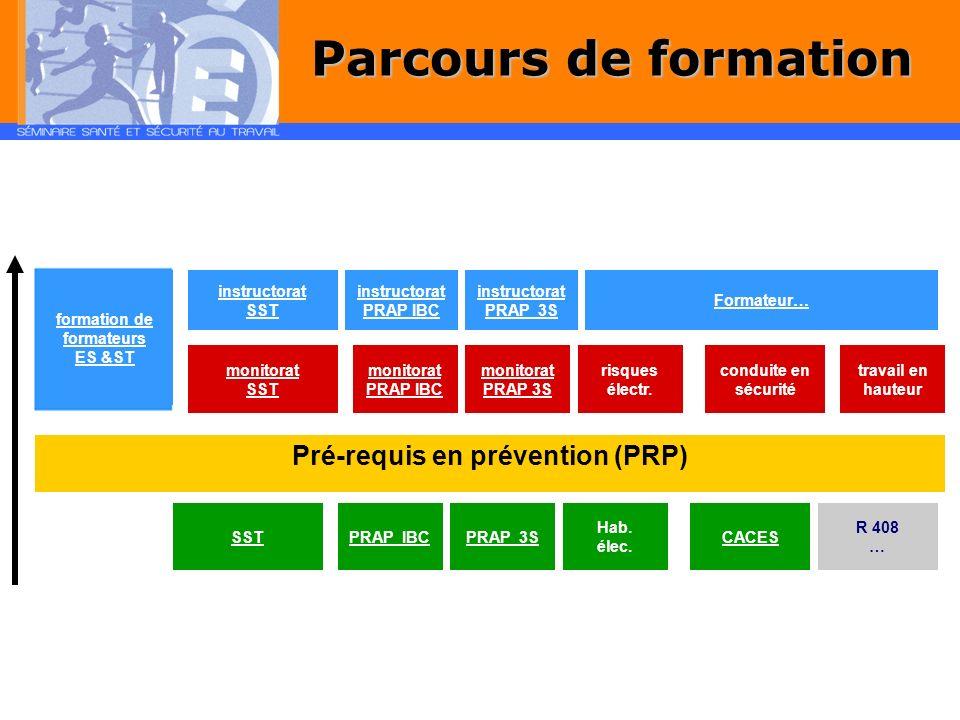 Pré-requis en prévention (PRP) formation de formateurs ES &ST instructorat SST instructorat PRAP IBC instructorat PRAP 2S Formateur… monitorat SST monitorat PRAP IBC monitorat PRAP 2S risques électr.