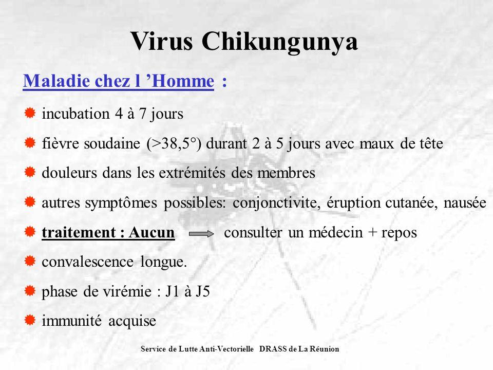 Service de Lutte Anti-Vectorielle DRASS de La Réunion Virus Chikungunya Épidémie à La Réunion: (bilan au 29 novembre 2005) début en mars-avril 2005 21 communes touchées plus de 5 000 cas recensés 14 660 maisons enquêtées 9 565 maisons traitées 3700 gîtes domiciliaires éliminés