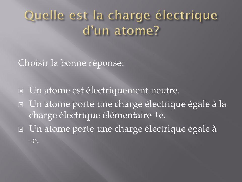 Choisir la bonne réponse: Un proton est électriquement neutre.