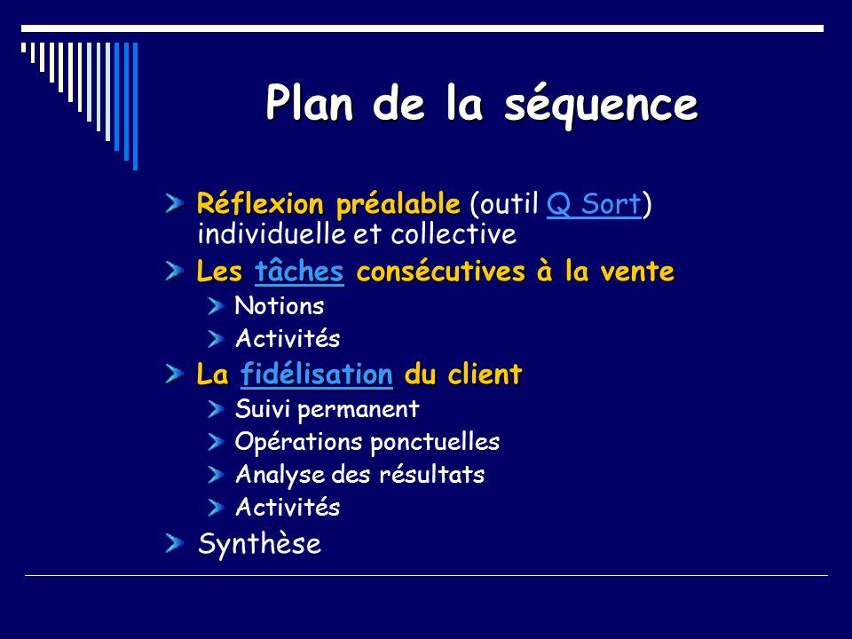 Le suivi et la fidélisation de la clientèle Réflexion (outil : Q – Sort) Phase individuelle (5 mn) Phase collective (10 mn) 4 groupes Échanges