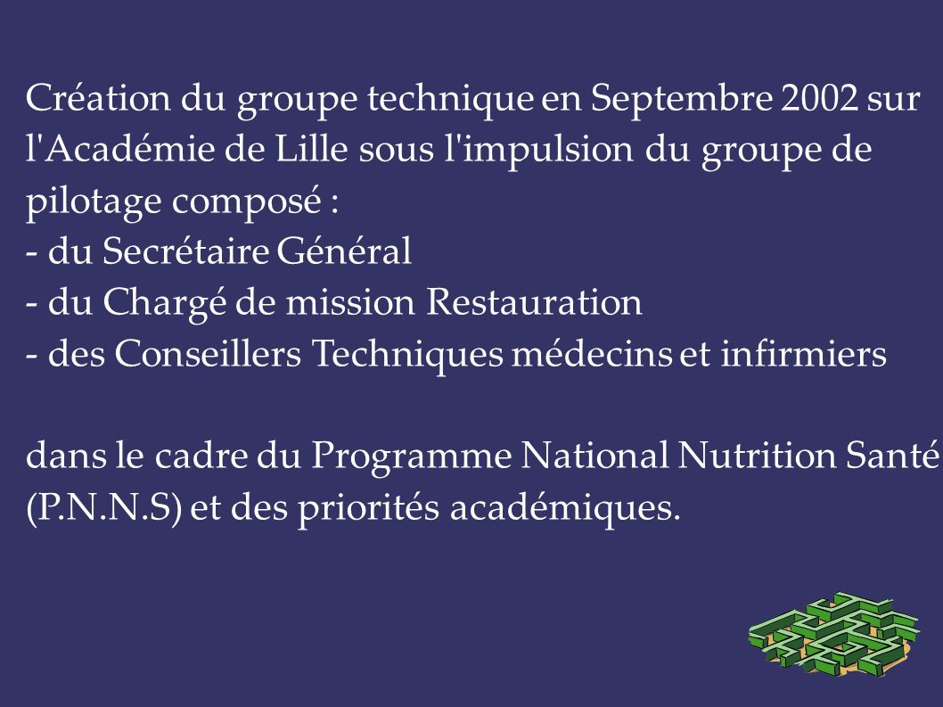 PROGRAMME NATIONAL NUTRITION SANTE 2001-2006 Le P.N.N.S.