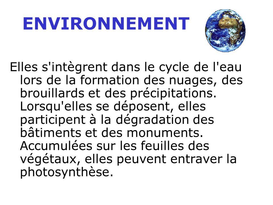 Elles s intègrent dans le cycle de l eau lors de la formation des nuages, des brouillards et des précipitations.