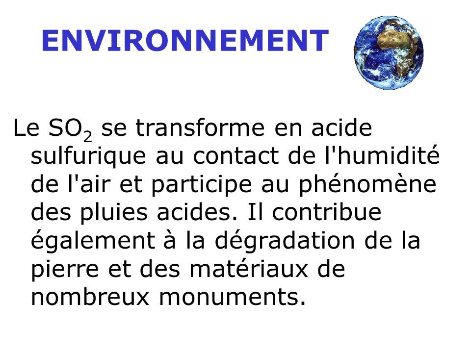 ENVIRONNEMENT Le SO 2 se transforme en acide sulfurique au contact de l humidité de l air et participe au phénomène des pluies acides.
