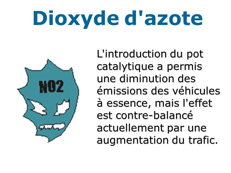 Dioxyde d azote L introduction du pot catalytique a permis une diminution des émissions des véhicules à essence, mais l effet est contre-balancé actuellement par une augmentation du trafic.