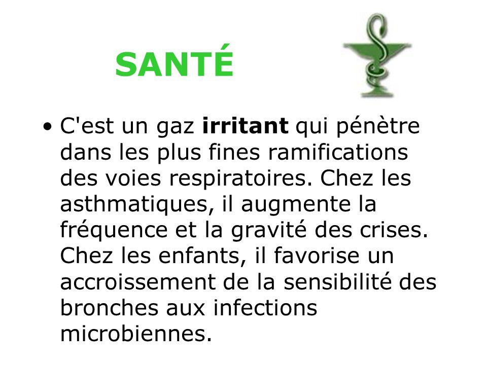 C est un gaz irritant qui pénètre dans les plus fines ramifications des voies respiratoires.